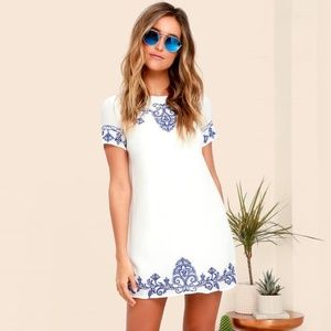 Lulu's Tale Tell Blue Embroidered Shift Dress